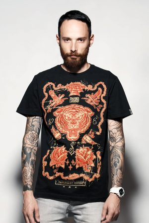 Red tiger t-shirt ,black , front ,