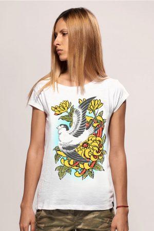 bird women snake legend white tshirt
