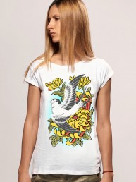 bird women snake legend white tshirt
