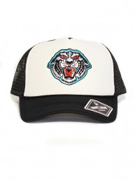 tiger summer baseball trucker black and white