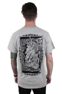 dragon in flames men tee snake legend grey