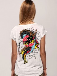 dragon in sky women t-shirt snake legend white