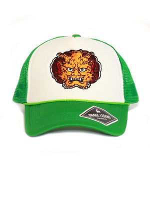 orange demon summergreen baseball trucker