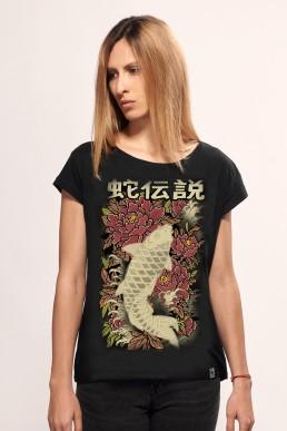 koi fish women t-shirt black snake legend