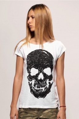 pirate skull women white t-shirt snake legend