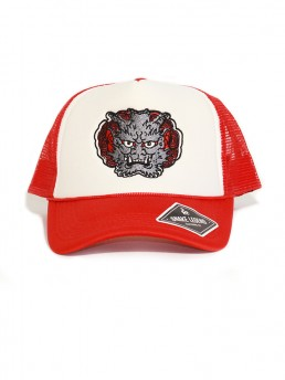 gray demon summer red baseball trucker