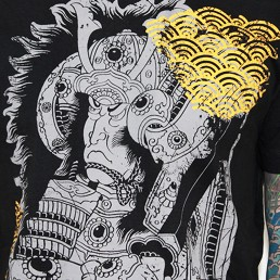 samurai men t-shirt black snake legend
