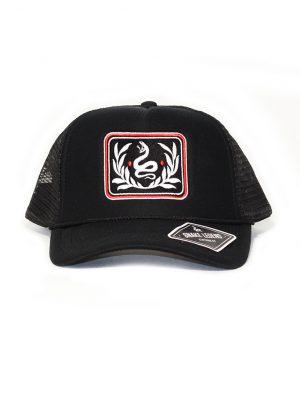 snake leaves black summer baseball trucker cap