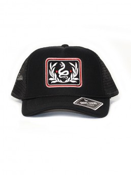 snake leaves black summer baseball trucker cap