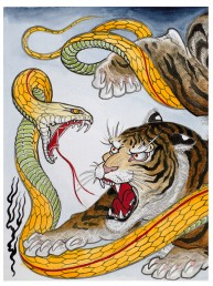 snake fighting with tiger poster snake legend
