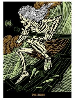 poster of skull surfer