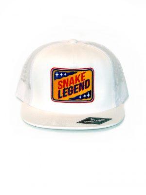 white trucker snapback cap snake legend