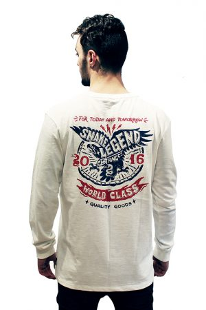 snake legend men long sleeve shirt white cotton