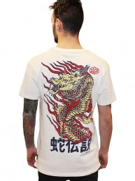 dragon print on the backside of white cotton men t-shirt snake legend