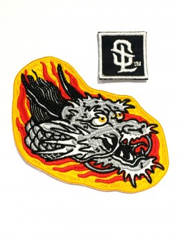 orange dragon head patch snake legend