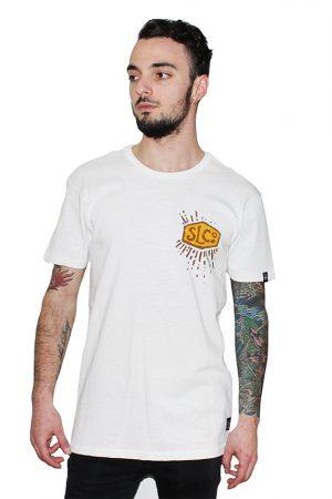 sun men white cotton t-shirt snake legend